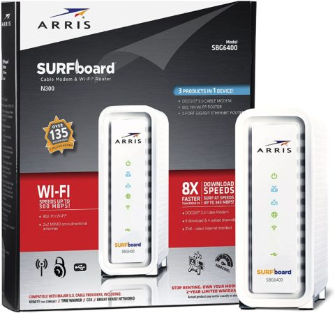 ARRIS SURFboard SBG6400 8x4 DOCSIS 3.0 Cable Modem N300 Wi-Fi Router-Retail Packaging-White