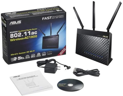 Asus AC1900 Dual Band Gigabit WiFi Router with MU-Mimo, Aimesh for Mesh WIFI System, Aiprotection Network Security Powered by Trend Micro, Adaptive Qos and Parental Control (RT-AC68U),Black