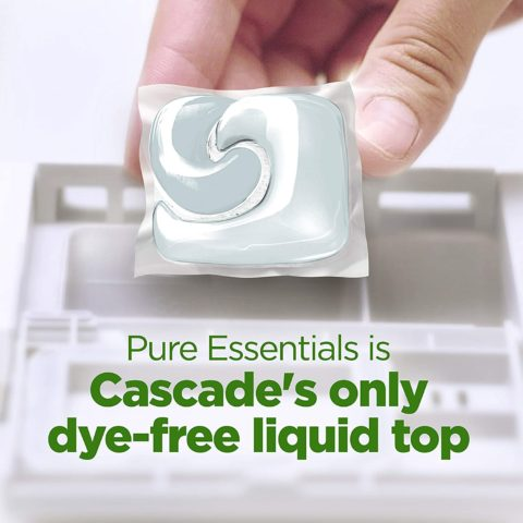 Cascade Pure Essentials ActionPacs, Dishwashing Detergent Pods, Lemon Essence, 58 Count