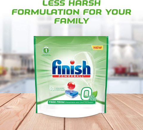Finish 0% - 50ct - Dishwasher Detergent - Powerball - Dishwashing Tablets - Dish Tabs, Best Dishwasher