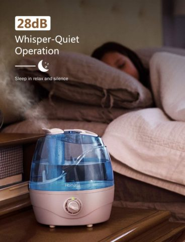 Homasy Cool Mist Humidifiers, Quiet Ultrasonic Humidifiers for Bedroom, Easy to Clean Air Humidifier, Last Up to 24 Hours, Auto Shut-Off, Adjustable Mist Output