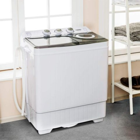 KUPPET Compact Twin Tub Portable Mini Washing Machine 26lbs Capacity, Washer(18lbs)&Spiner(8lbs)Built-in Drain PumpSemi-Automatic (White&Gray)
