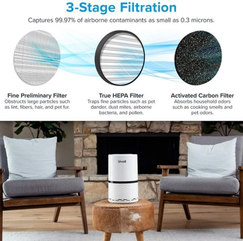 LEVOIT Air Purifier with H13 True HEPA Air Purifiers Filter for Home Allergies and Pets, Smokers, Smoke, Dust, Mold, and Pollen, Air Cleaner for Bedroom, Large Room with Optional Night Light, LV-H132