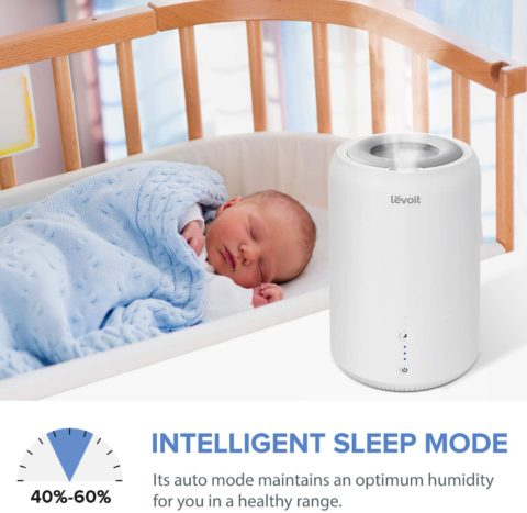 LEVOIT Humidifiers for Bedroom, Cool Mist Humidifier for Babies, Top Fill Ultrasonic Air Humidifier, Essential Oil Diffuser with Smart Sleep Mode, Whisper Quiet Operation, Auto Shut Off (1.8L0.48Gal)