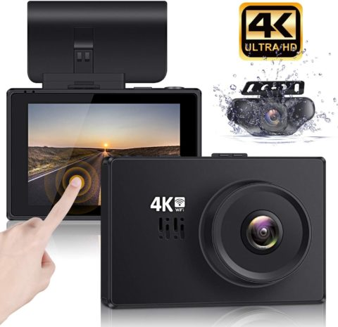 Lifechaser Dual Dash Cam 4K Front and Rear Car Camera 1080P+1080P, 3 OLED Touch Screen WiFi GPS Night Mode 150°, Parking Mode, Time Lapse, WDR, G-Sensor, Loop Recording for Cars, Trucks
