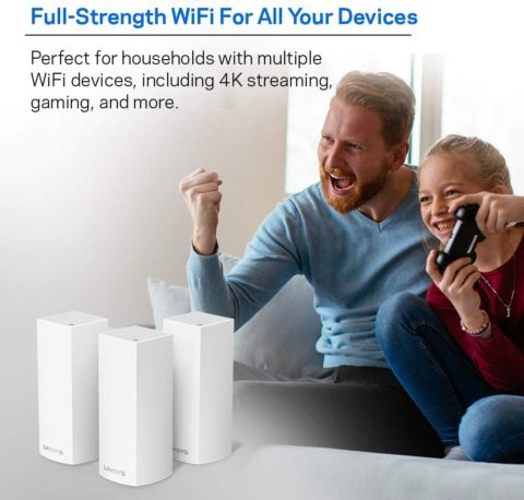 Linksys Velop Mesh Router (Tri-Band Home Mesh WiFi System for Whole-Home WiFi Mesh Network) 3-PackAmazonUs White