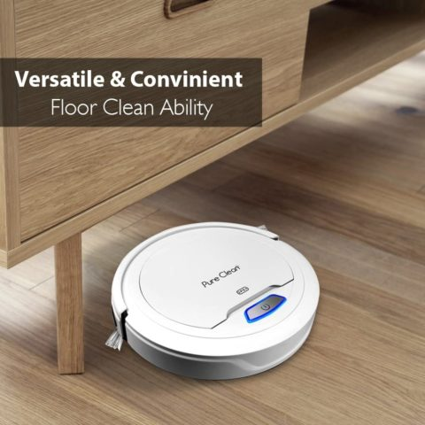 Pure Clean Robot Vacuum Cleaner - Upgraded Lithium Battery 90 Min Run Time - Automatic Bot Self Detects Stairs Pet Hair Allergies Friendly Robotic Home Cleaning for Carpet Hardwood Floor - PUCRC25 V1