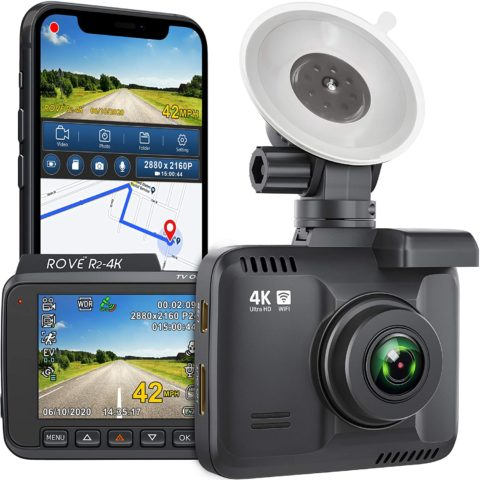 Rove R2-4K Dash Cam Built in WiFi GPS Car Dashboard Camera Recorder with UHD 2160P, 2.4 LCD, 150° Wide Angle, WDR, Night Vision