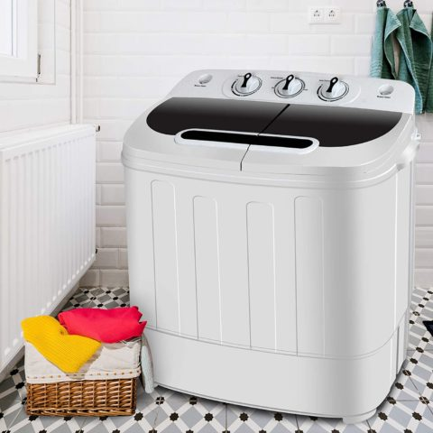 SUPER DEAL Portable Compact Mini Twin Tub Washing Machine wWash and Spin Cycle, Built-in Gravity Drain, 13lbs Capacity For Camping, Apartments, Dorms, College Rooms, RV's, Delicates and more
