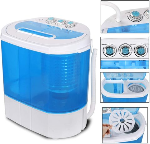 SUPER DEAL Portable Compact Washing Machine, Mini Twin Tub Washing Machine wWasher&Spinner, Gravity Drain Pump and Drain Hose,washers and dryers