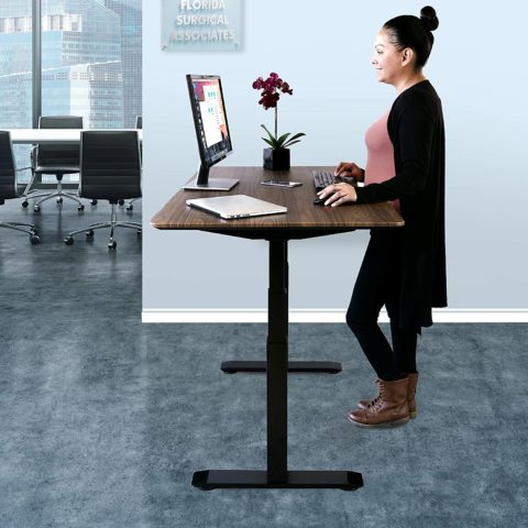 Seville Classics AIRLIFT Pro S3 54 Solid-Top Commercial-Grade Electric Adjustable Standing Desk (51.4 Max Height) Table, BlackWalnut