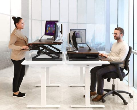 Seville Classics airLIFT Height Adjustable Stand Up Desk ConverterRiser - Keyboard Tray, Dual Monitors, Quick Lift Levers Ergonomic Table, Full (36), Walnut