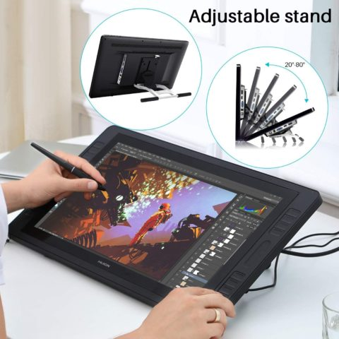 2019 Huion KAMVAS Pro 20 Drawing Monitor Tilt Function Battery-Free Stylus 8192 Pen Pressure with 16 Press Keys and 2 Touch Bars - 19.5 Inch