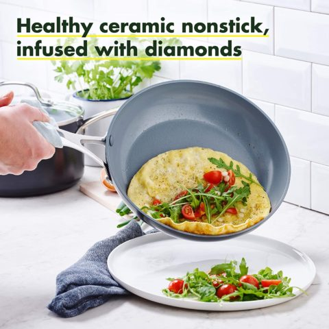 GreenPan Valencia Pro Hard Anodized Induction Safe Ceramic Nonstick, Frypan Set, 10 and 12, Gray