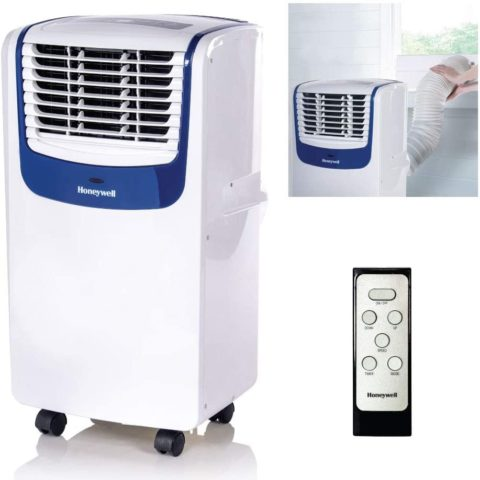 Honeywell MO08CESWB Compact 3-in-1 Portable Air Conditioner w Remote Control, Up to 350 Sq. Ft., WhiteBlue