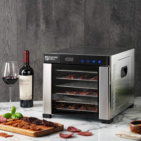 Magic Mill Commercial Food Dehydrator Machine Easy Setup, Digital Adjustable Timer and Temperature Control Dryer for Jerky, Herb, Meat, Beef, Fruit and To Dry Vegetables Over Heat Protection 6 Stainless Steel Trays