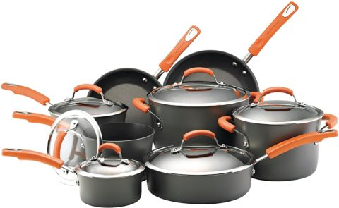 Rachael Ray 87000 Brights Hard-Anodized Nonstick Cookware Set with Glass Lids, 14-Piece Pot and Pan Set, Gray with Orange Handles