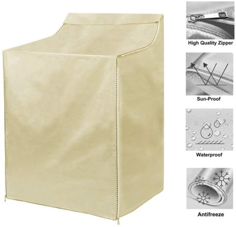 "WasherDryer Cover for Top-loading Machine – Waterproof, Dustproof, Sun-Proof, W29""D28""H43"" Suitable for most WashersDryers on US and Canadian market (gold)"