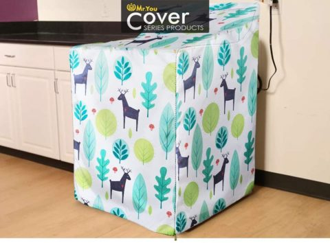 WasherDryer Cover,Fit for Outdoor Top Load and Front Load Machine,Zipper Design for Easy Use,Waterproof Dustproof Moderately Sunscreen(W29D28H40in,Fallow Deer)
