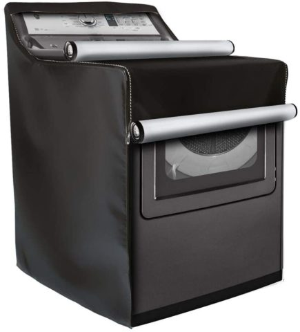 Washing Machine Cover,W29in D28in H40in,WasherDryer Cover Fit Most Top Load or Front Load WashersDryers,All Weather Protection Black Coated