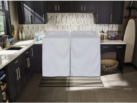 Washing Machine Covers,Washer and Dryer Combo Dryer and Washer Cover with Zipper (Creamy-white,W29D28H40in)