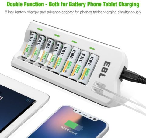 EBL 2800mAh Ni-MH AA Rechargeable Batteries (8 Pack) and 808U Rechargeable AA AAA Battery Charger with 2 USB Charging Ports