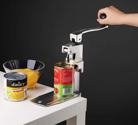 """New Star Foodservice 7006841#1 Manual Table Can Opener with Plated Steel Base For Cans Up to 11"""" Tall"""