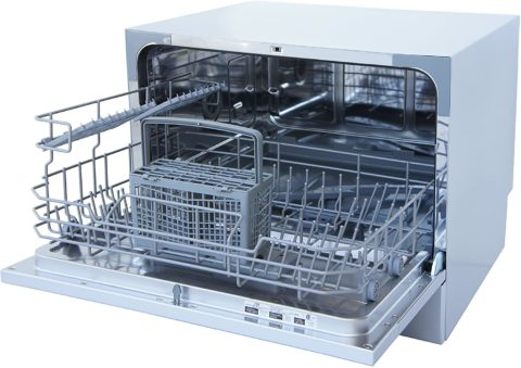 SPT Compact Countertop Dishwasher - Energy Star Portable Dishwasher with Stainless Steel Interior and 6 Place Settings Rack Silverware Basket for Apartment Office And Home Kitchen, White